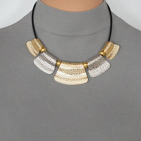 Handmade Hammered Gold and Silver Bib & Black Leather Necklace - gold.silver.black