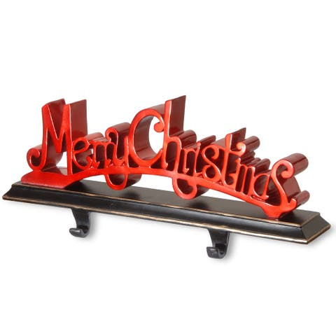 """18"""" Red and Black """"Merry Christmas"""" Lettered Christmas Stocking Holder"""