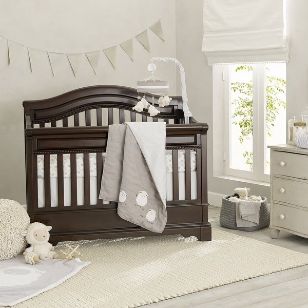 Lambs & Ivy Signature Goodnight Sheep Gray/White 6-Piece Nursery Baby Crib Bedding Set