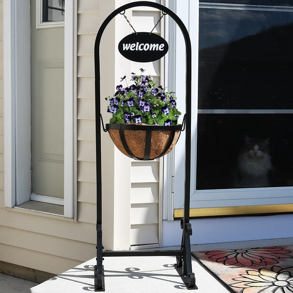 """Sunnydaze Hanging Basket Flower Planter Stand with Metal Welcome Sign - 45"""""""