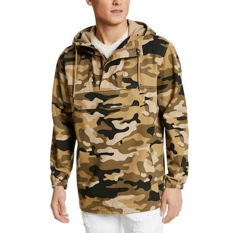 Sun + Stone Mens Hoodie Brown Size 2XL Camo Print Pockets Pullover