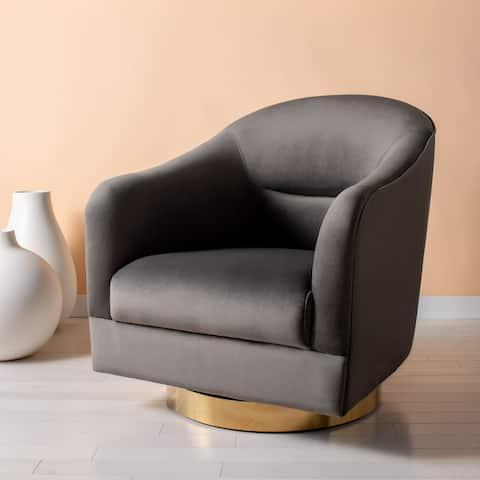 "Safavieh Couture Madelyn Velvet Barrel Chair - 30.3"" W x 34.3"" L x 34.3"" H - 30.3""x34.3""x34.3"""