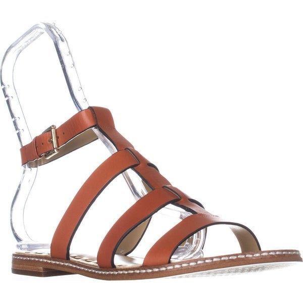 MICHAEL Michael Kors Fallon Flat Sandal Gladiator Sandals, Orange/Acorn - 7 us / 37 eu