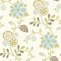 Brewster 2535-20678 Amelie Blue Modern Floral Trail Wallpaper