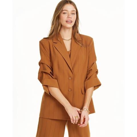 Danielle Bernstein Women's Pinstripe Blazer Orange Size S - Small