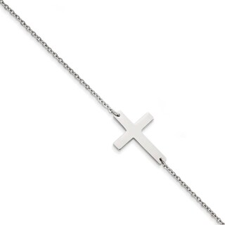 Chisel Stainless Steel Polished Sideways Cross Anklet (1 mm) - 10 in