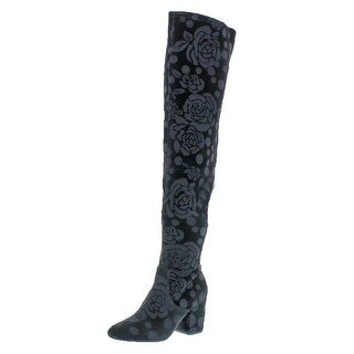 L4L by Lust for Life Womens Andie Over-The-Knee Boots Velvet Block Heel