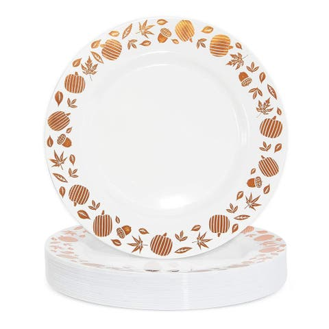 """24 Disposable Plastic Dinner Plates, Thanksgiving Party Fall Leaf Pumpkin 9 in - 9"""" X 9"""""""