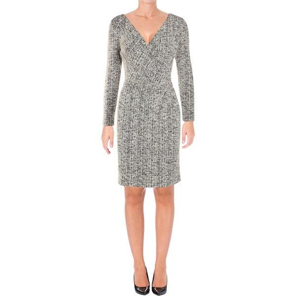 Lauren Ralph Lauren Womens Agnessa Party Dress Textured V-Neck
