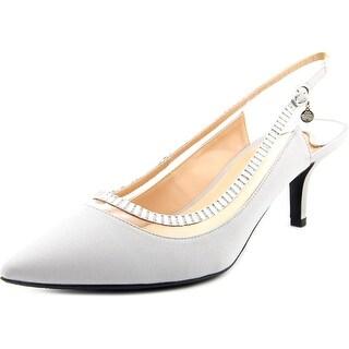 J. Renee Ellyn Women Pointed Toe Canvas Silver Slingback Heel