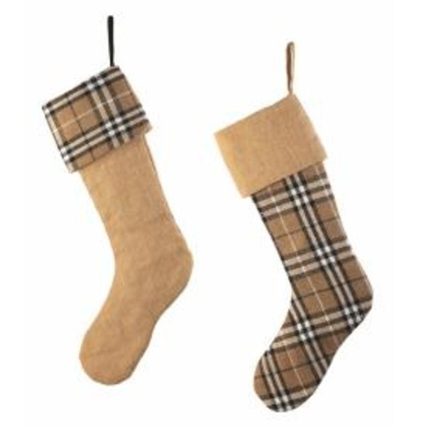 Set of 2 Country Cabin Tan and Black Plaid and Burlap Christmas Stockings 20.5""