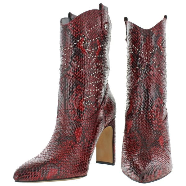 Jessica Simpson Women/'s Periya Faux Leather Transparent Heeled Western Booties