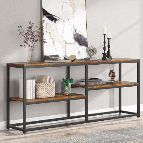 70.9 inch Extra Long Narrow Sofa Console Table with Storage Shelves