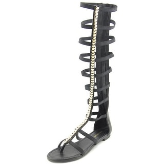 Bamboo Candice Women Open Toe Synthetic Black Gladiator Sandal