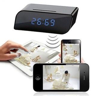 Mini Wireless Network WiFi IP HD 720P Clock Camera Spy Hidden Security Recorder - Black
