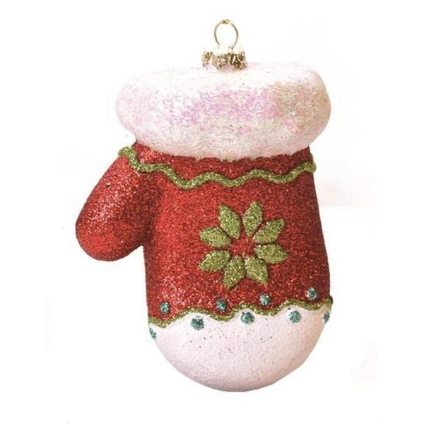 "4"" Merry & Bright Red, White and Green Glitter Shatterproof Mitten Christmas Ornament"