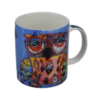 Allen Designs Colorful Owl Ceramic Coffee Cup 10 oz.