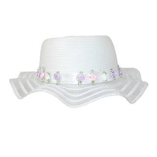 CTM® Girls' Dress 2.5 Inch Wave Brim Holiday Bonnet Hat, White - One size