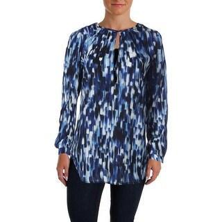 Aqua Womens Juniors Chiffon Printed Pullover Top