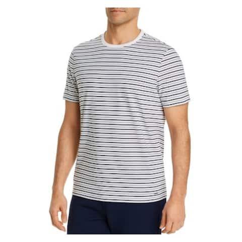 MICHAEL KORS Mens White Striped Short Sleeve Classic Fit T-Shirt L