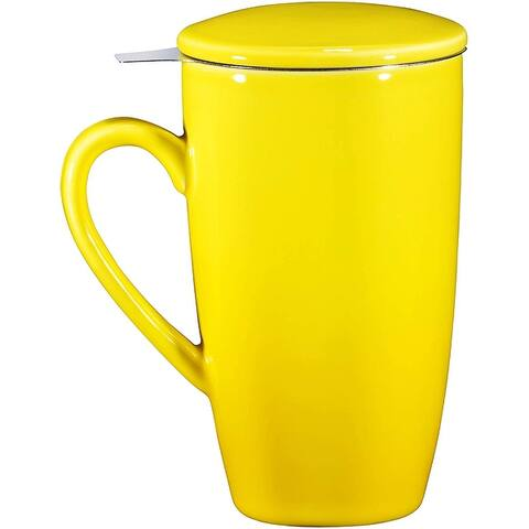 16oz Ceramic Tea Mug with Stainless Steel Infuser