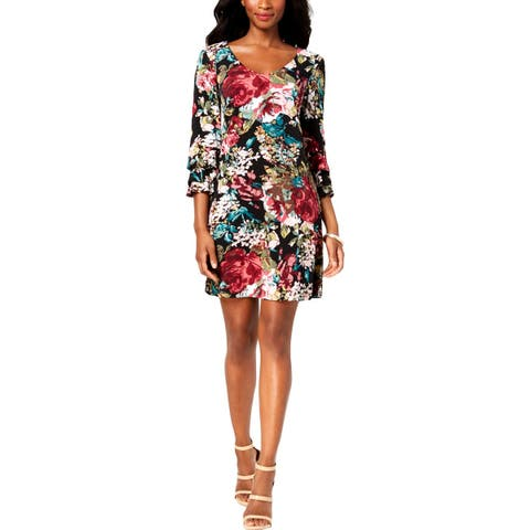 Connected Apparel Womens Petites Casual Dress Floral Print Bell Sleeves