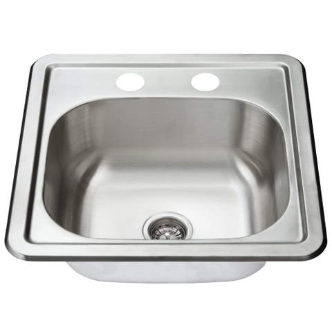 Fine Fixtures Top Mount Stainless Steel Single Bowl - 2 Holes - 15 x 15