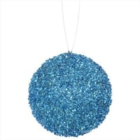 4 ct. Turquoise Blue Sequin And Glitter Drenched Christmas Ball