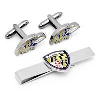 Baltimore Ravens Head Cufflinks and Shield Tie Bar Gift Set - Silver