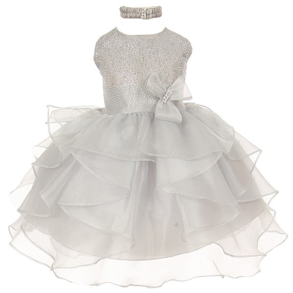 Baby Girls Silver Organza Rhinestuds Bow Sash Flower Girl Dress 6-24M