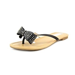 INC International Concepts Malissa Women Open Toe Canvas Black Thong Sandal