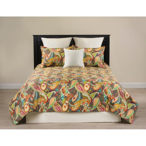 Whimsy bright paisley on grey comforter set