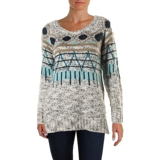 Kensie Womens Pattern Marled Pullover Sweater