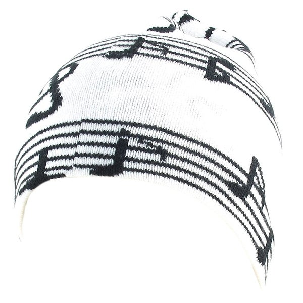 Unique Bargains Unisex Black White Music Note Print Stretchy Hand Knit Running Beanie Hat Cap