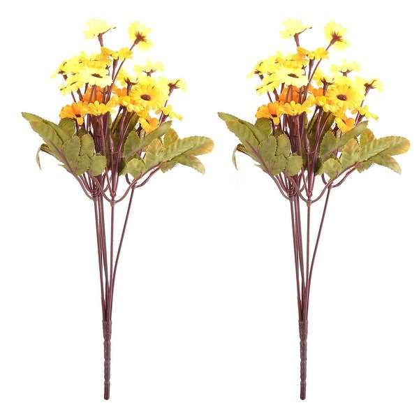 Unique Bargains Party Fabric Craft Decor Artificial Flower Yellow Orange 13.2 Inch Height 2pcs