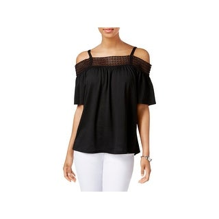 Cable & Gauge Womens Pullover Top Knit Cold Shoulder