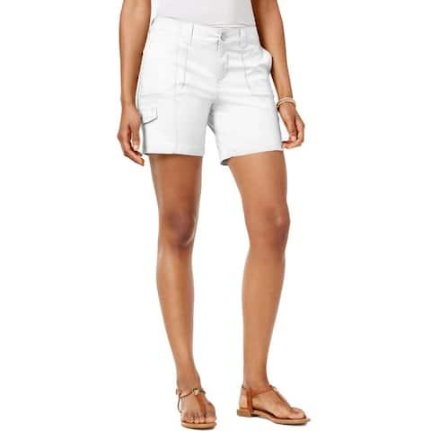 Style & Co Women's Comfort-Waist Cargo Shorts Bright White Size 14