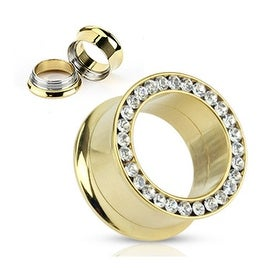 Gold Plated Surgical Steel Screw-Fit Double Flared Hollow Plug with Gemmed Rim (Sold Individually)