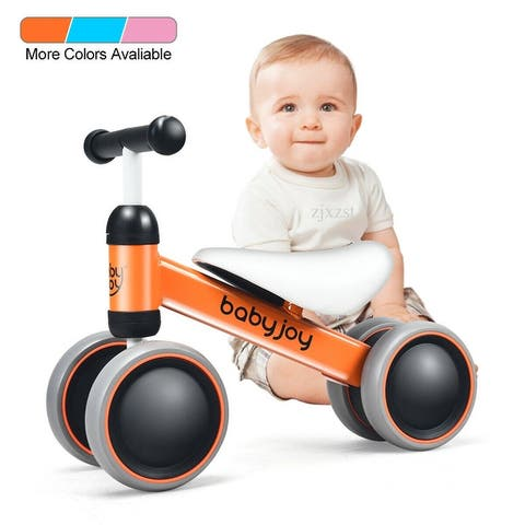 Babyjoy 4 Wheels Baby Balance Bike Children Walker No-Pedal Toddler Toys Rides PinkBlueOrange