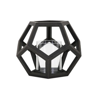 IMAX Home 16203  Ubon Wood Pillar Lantern Candle Holder - Black