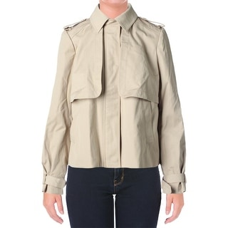 Michael Kors Womens Trench Sateen Cropped Jacket - L