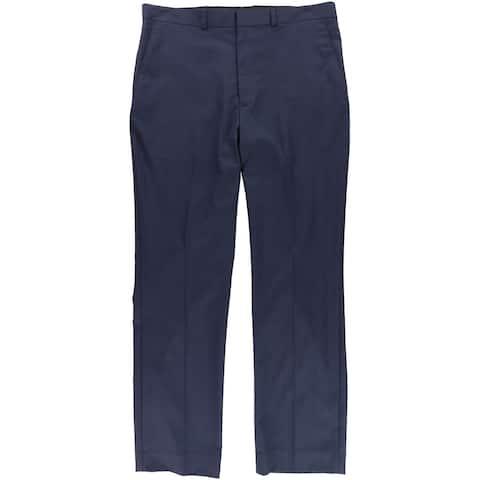 Kenneth Cole Mens Grid Dress Pants Slacks, Blue, 37W x 32L - 37W x 32L
