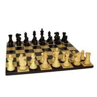 Medium Black New Classic Chess Set With Black Maple Board - Multicolored