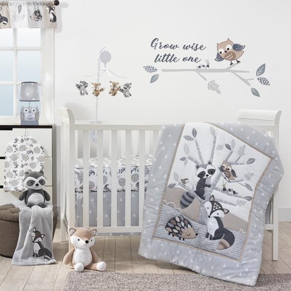 Bedtime Originals Little Rascals Gray/Tauper/White Woodland Animals and Tree 3-Piece Baby Crib Bedding Set