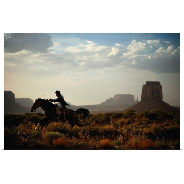 """Horse Riding in Canyon"" Poster Print"
