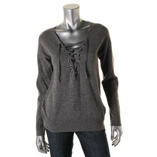 Aqua Womens Wool Lace Up Pullover Sweater