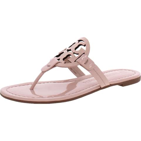 Tory Burch Women's Miller Leather Laser Cut T-Strap Thong Sandal - Seashell Pink