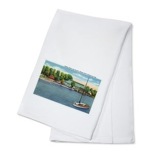 Chautauqua Lake, New York - View of Midway Park Beach and Pavilion - Vintage Halftone (100% Cotton Towel Absorbent)