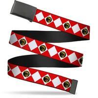 Blank Black  Buckle Diamond Red Ranger Webbing Web Belt
