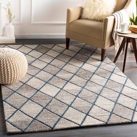 Padstow Handmade Wool Blend Trellis Area Rug